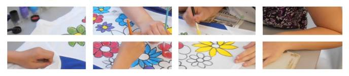 Children painting flowers